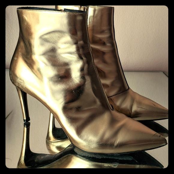 89dd4152a42 Balenciaga Slash heel gold booties